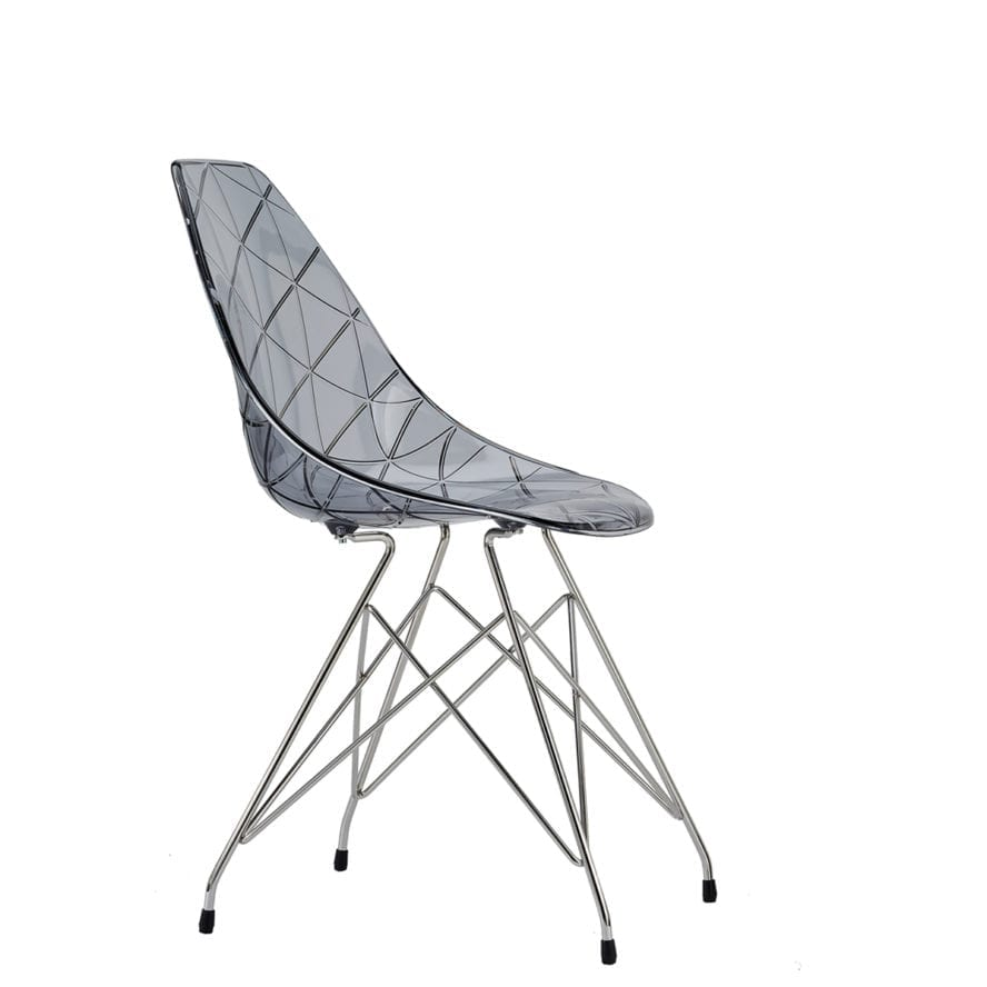 Aceray Nova-M side chair with metal legs and translucent smoke seat