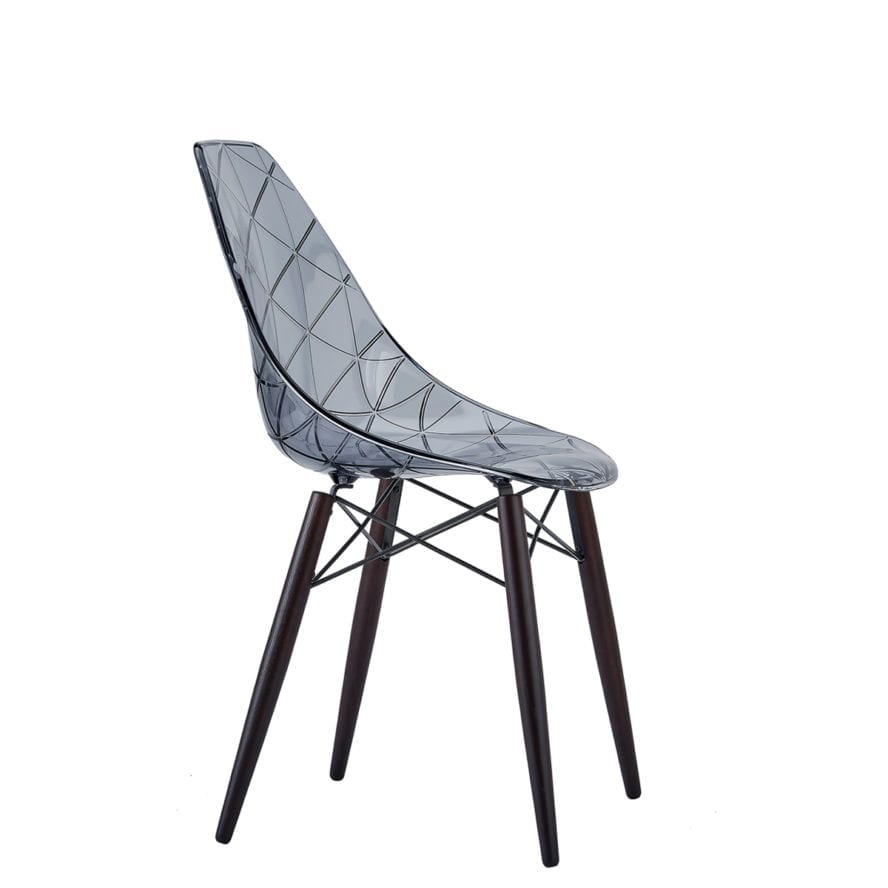 Aceray Nova-W side chair with wood legs and translucent smoke seat