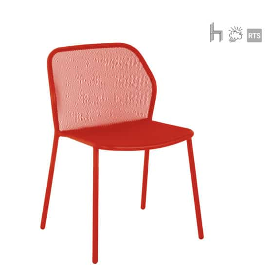 The Aceray Lido-1 indoor/outdoor stacking side chair in red