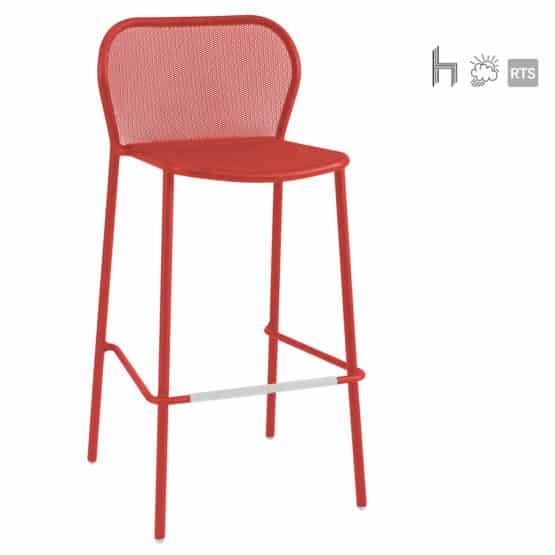 The Aceray Lido-5 indoor/outdoor stacking barstool in red