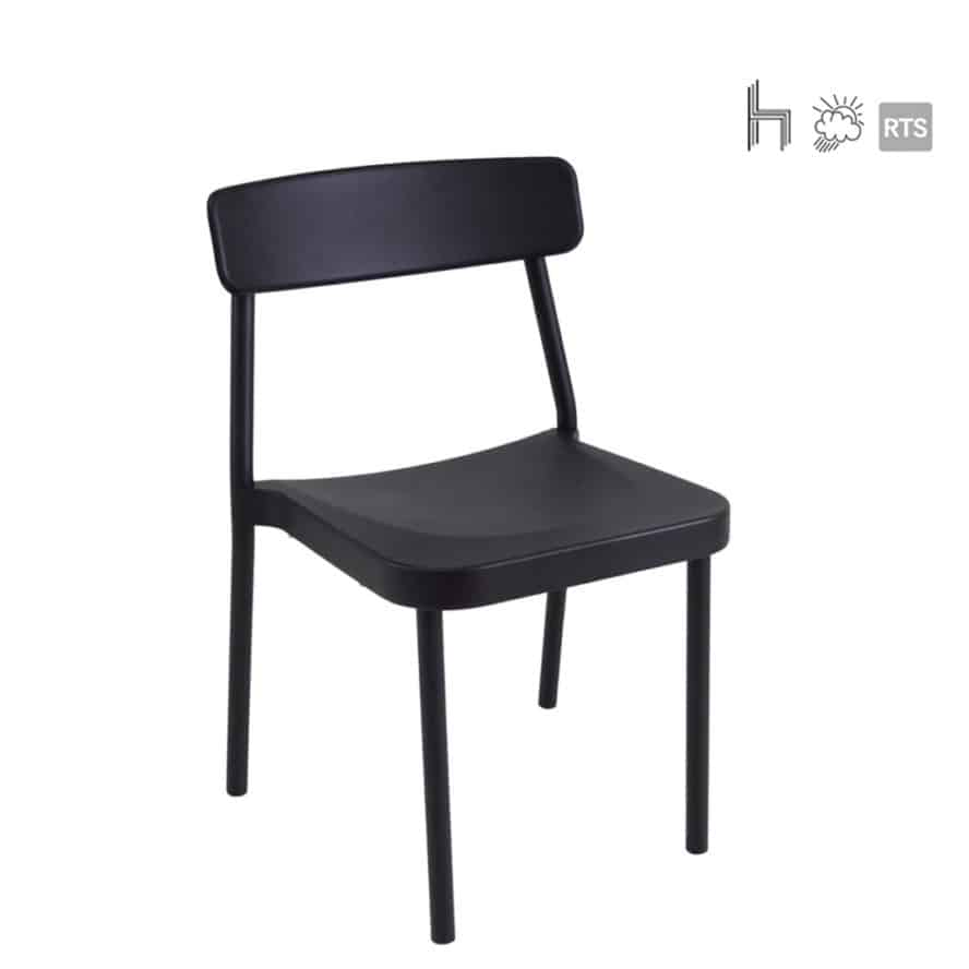 Aceray Astro-1 stacking side chair in black