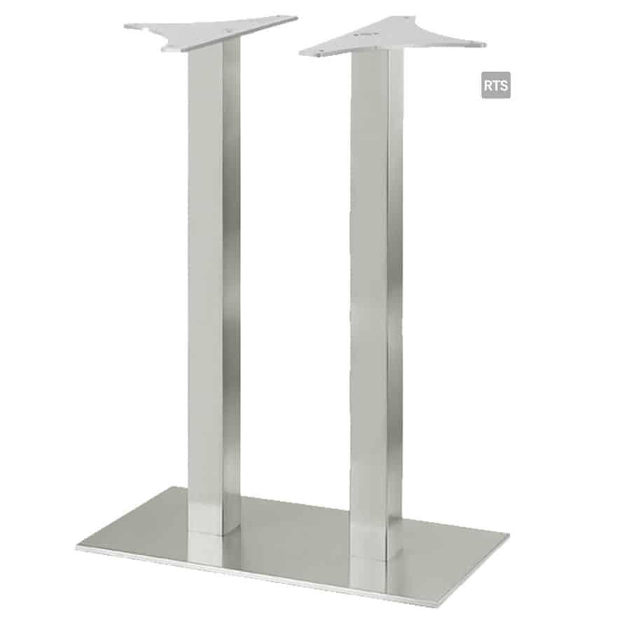 Aceray CAMPO-BQ2 two square pole bar height table base with brushed stainless finish