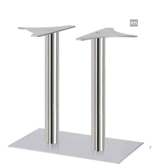 Aceray CAMPO-DR2 two round pole dining height table base with brushed stainless steel