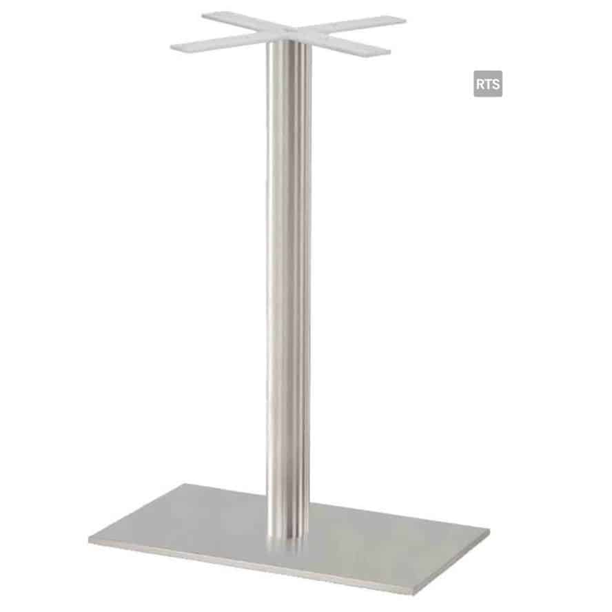 Aceray CAMPO-BR1 one round pole bar height table base with brushed stainless finish