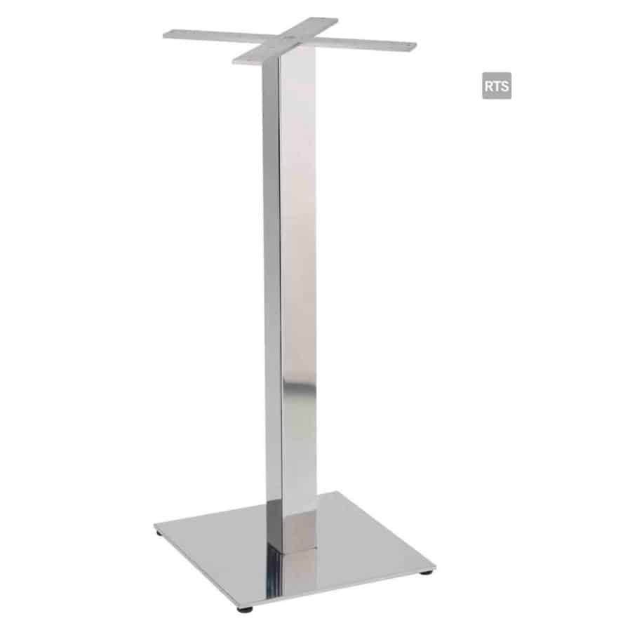 Aceray PIAZZA-BQ bar height square table pole and base with brushed stainless steel pole