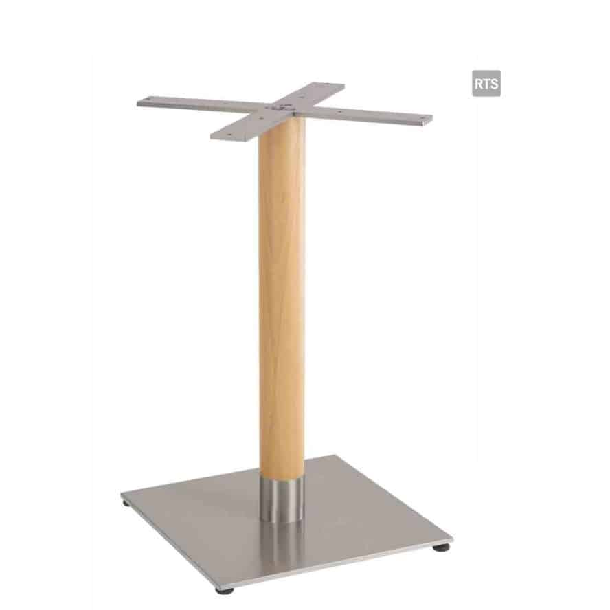 Aceray PIAZZA-DR dining height round table pole and base with wood pole
