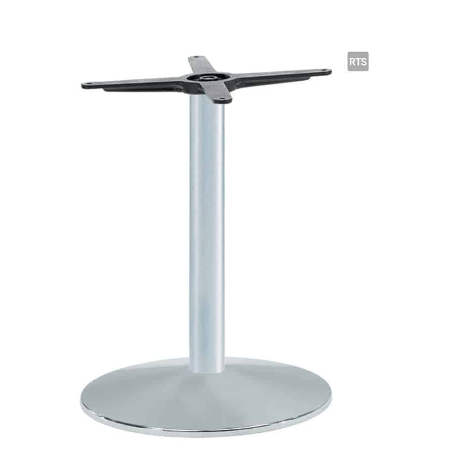 Aceray #824 dining height table base with oval base plate and in silver finish