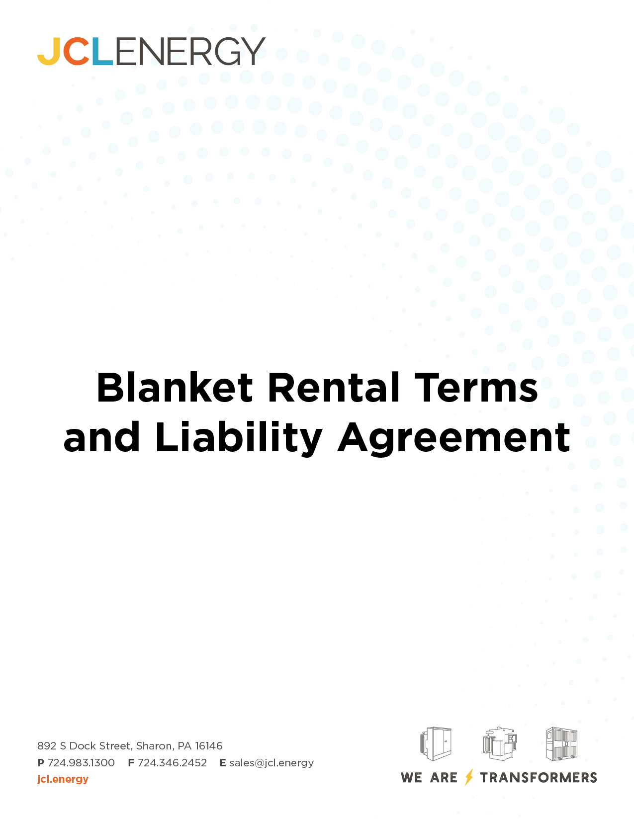 JCL Energy Rental Terms