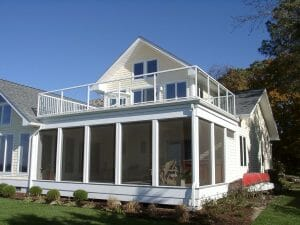 enclosed porch with Duradek vinyl on roof deck