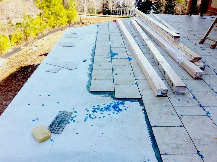 Installing Tile on Deck over Tiledek waterproof membrane