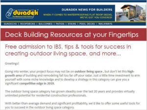 Duradek builders enews - sign up for Deck Building Resources at your Fingertips