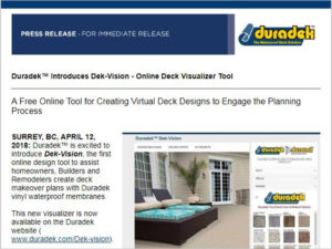 Duradek Press Release - sign up for deck building product & industry news