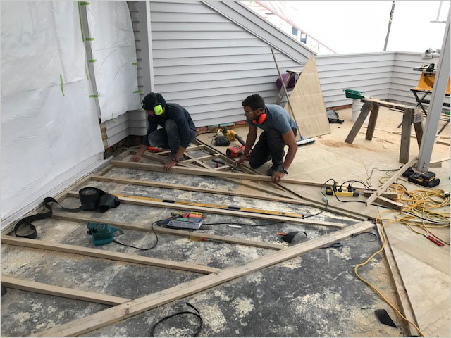 Build a deck with sleepers for slope