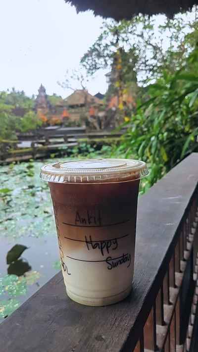 Starbucks at Pura Taman Saraswati Temple Ubud - Ubud Travel Guide