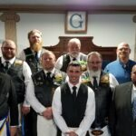 Front: Right Worshipful Grand Senior Warden Jim Carlton, Dylan Tardiff, & Myron Bell, Jr, WM Bellevue Lodge 325. Middle: Steve Crosby, Zach Thompson, PM & VP Memento Mori Motorcycle Riders Association; Gary Jorgens, Jr, President Memento Mori MRA. Back: Andy Seachord, PM & Past President Memento Mori MRA; RK Patrick, Chaplain Memento Mori MRA; & Jim McCollum, journeyman Memento Mori MRA.