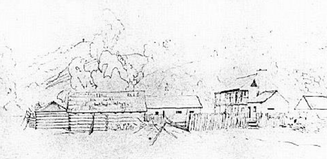 Drawing of The American Fur Company Trading Post, operated by Peter A. Sarpy
