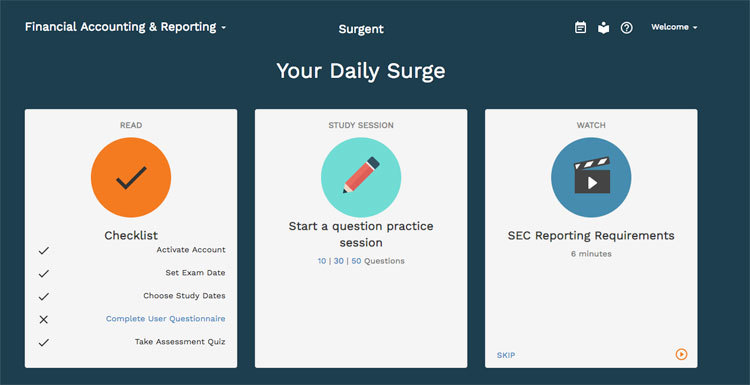 Daily Surge Dashboard in Surgent's Course