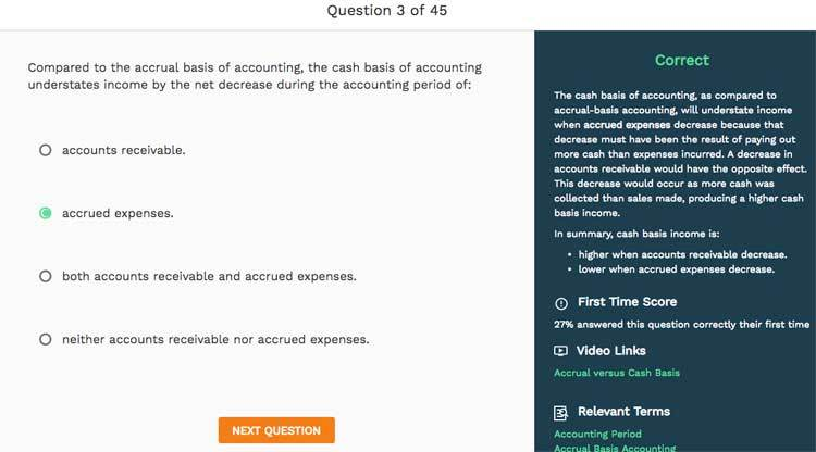 Answer explanation in Surgent test bank