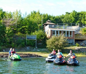 Waterfront cottage at Pleasant Cove Resort, Pointe au Baril, Ontario Sea Doo Lodgings