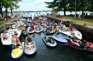 Watercraft Ride For Dad Sea Doo Tour participants fill a lock