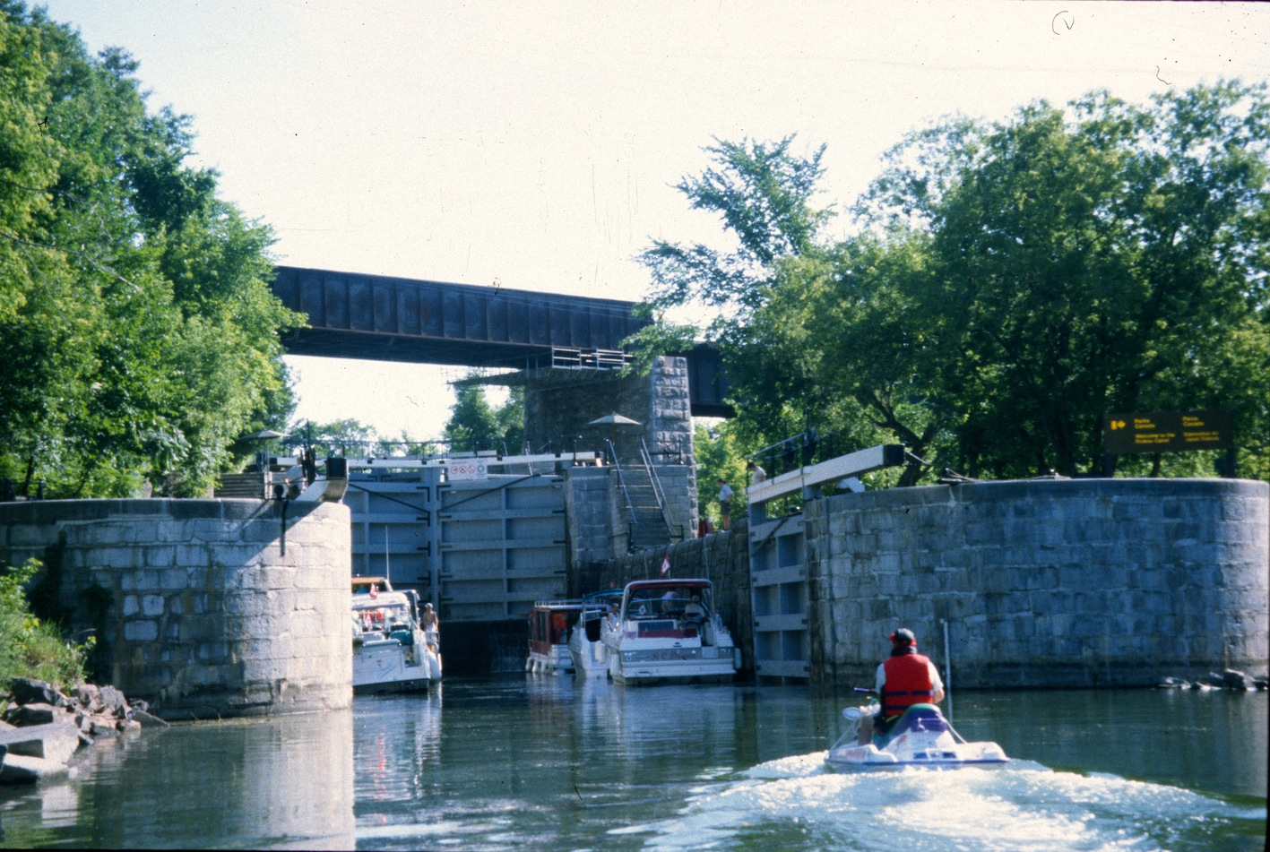 Lock full of boats on the Rideau Canal Sea Doo Tour