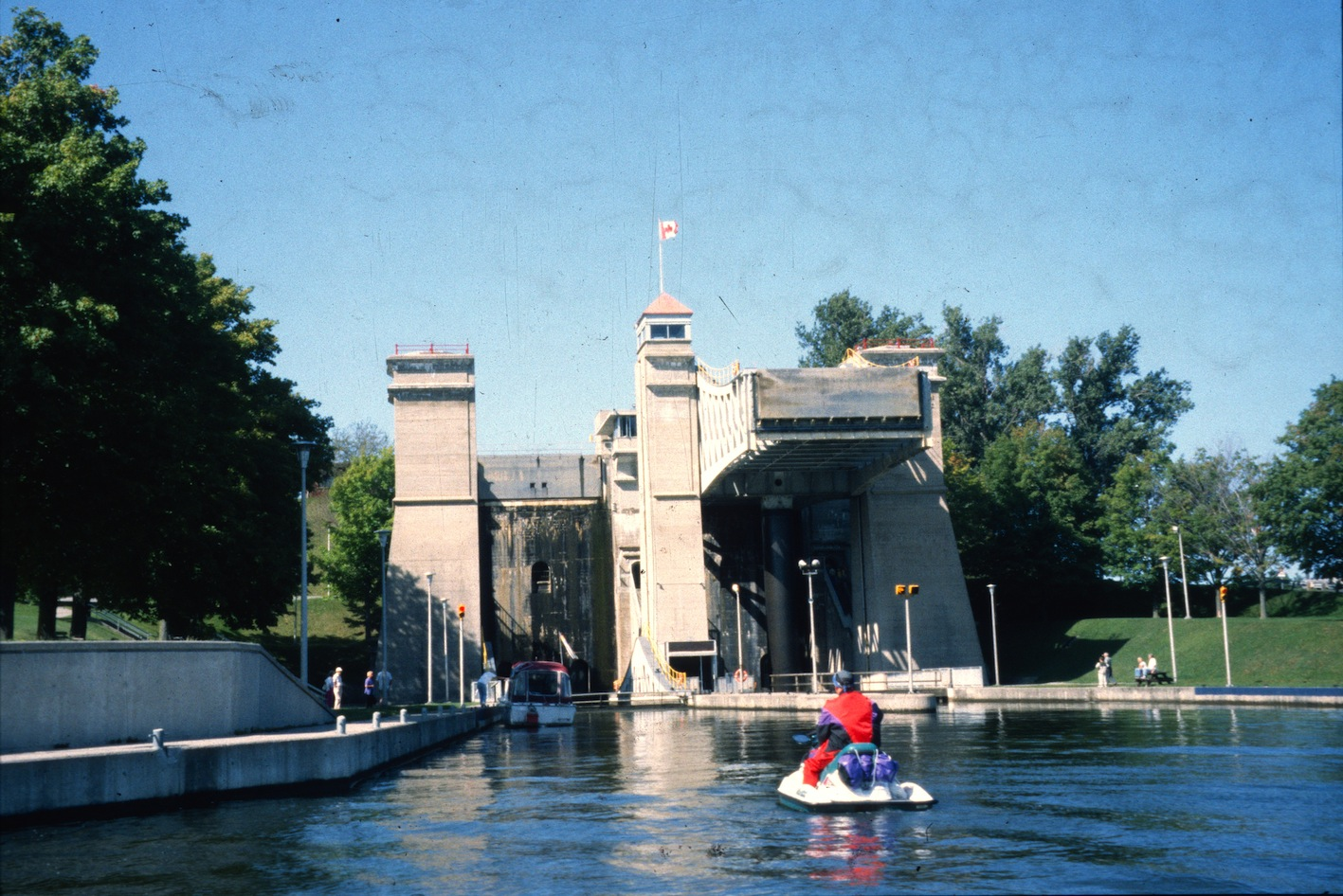 Approaching the famous Peterborough Lift Lock on Trent Severn Waterway Sea Doo Tour