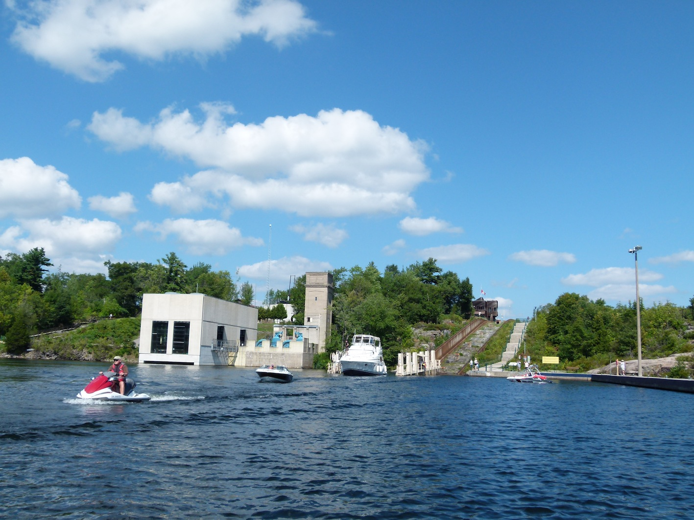 Exiting at the bottom of Big Chute on Trent Severn Waterway Sea Doo Tour