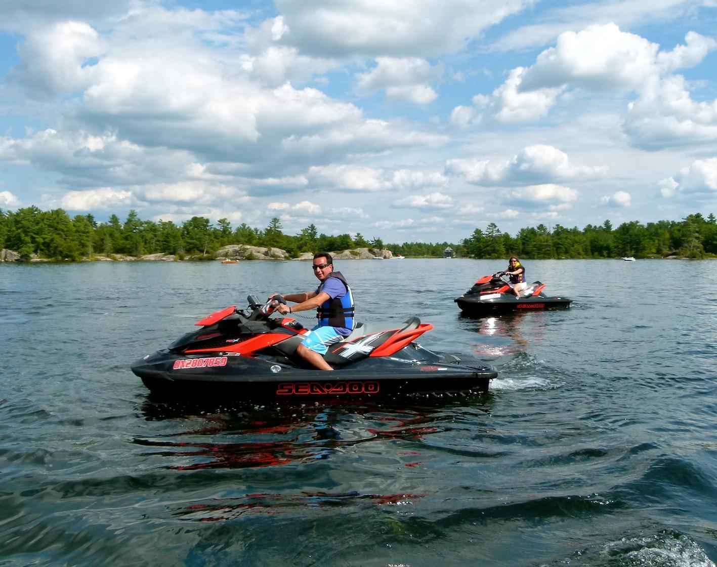 Floating on Big Bald Lake, on our Kawartha Lakes Sea Doo tour