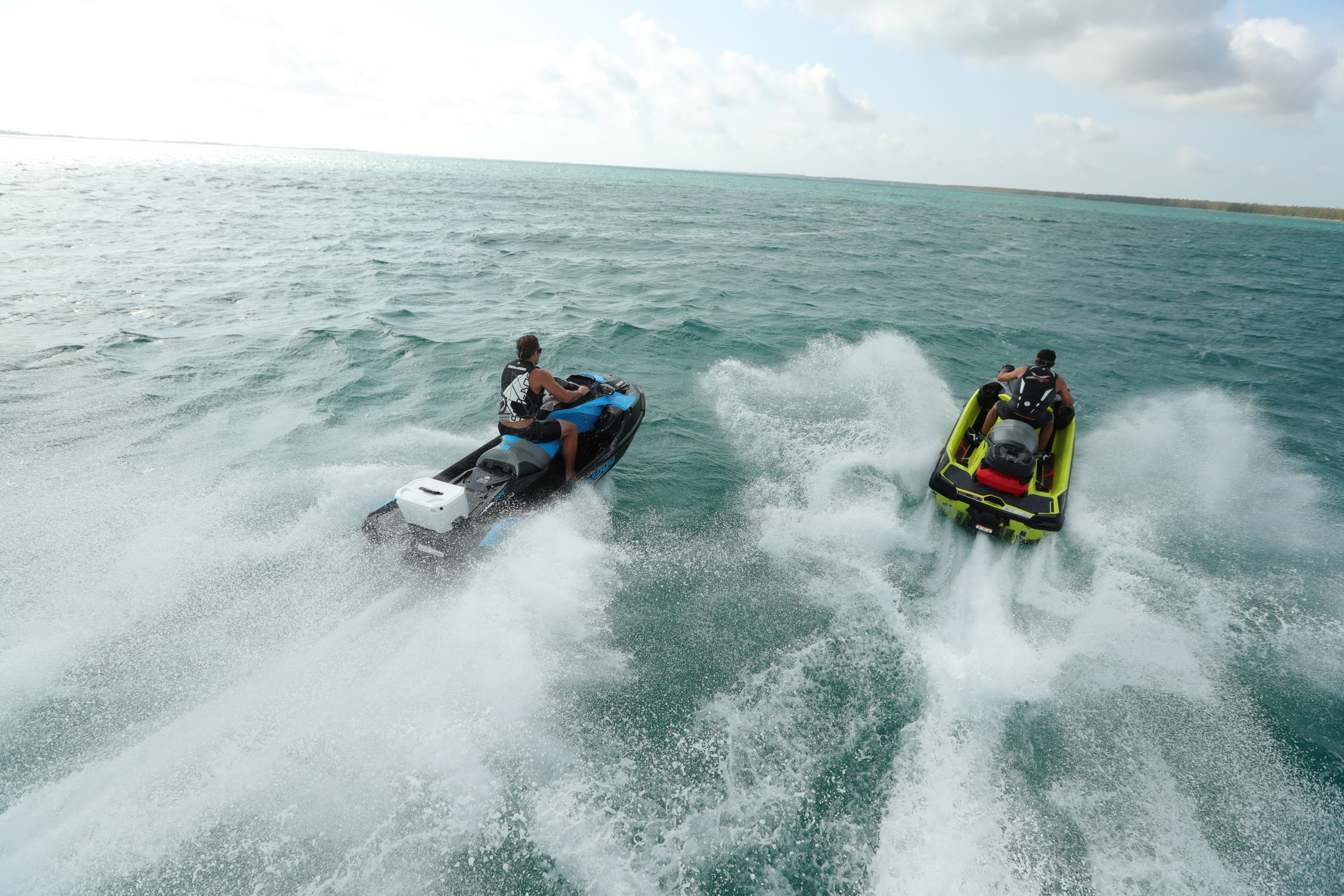 Two riders testing ST3 Hull on rough water