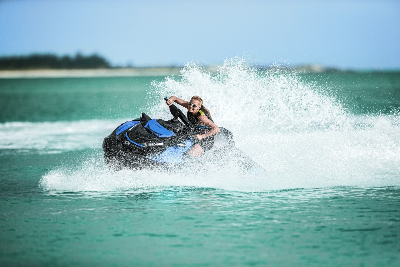 Solo rider playing on Sea Doo ST3 Hull