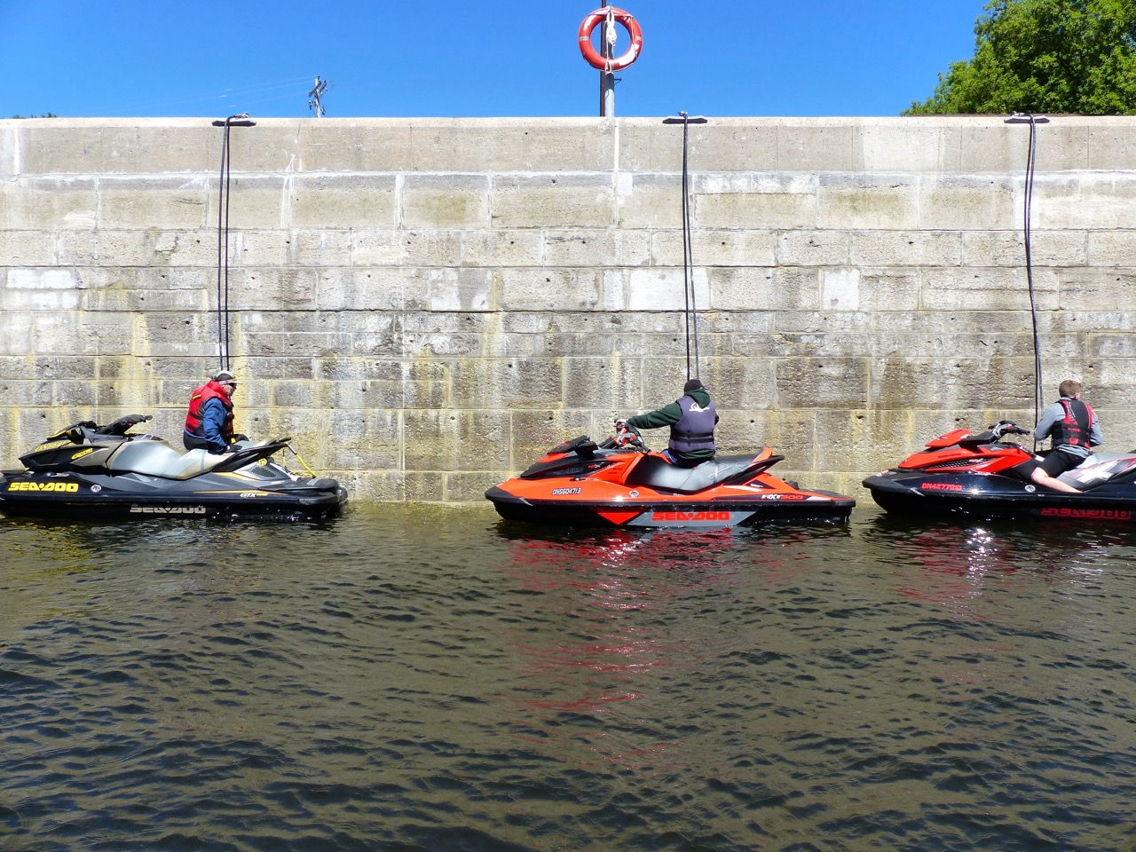 PWC riding new normal means PWC's moored end to end on lock walls.