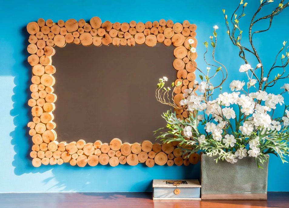 Handmade rectangle mirror with wood slice frame