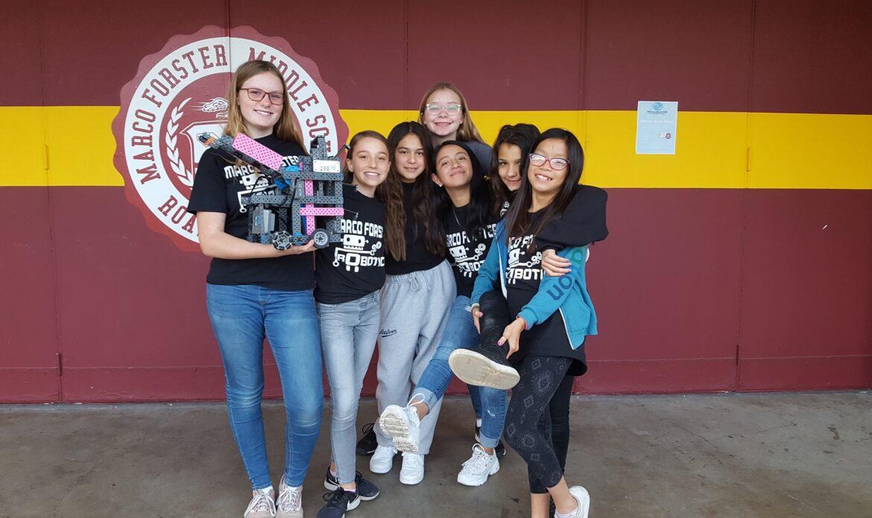 Interest in robot technology sparks Marco Forster all girls robotics team
