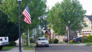 flags w vk car in neighborhood 052916