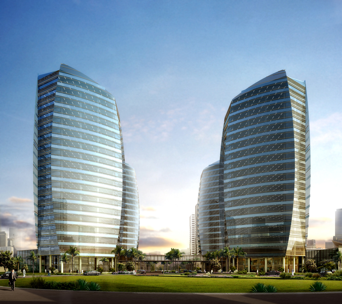 photorealistic high rise tower rendering