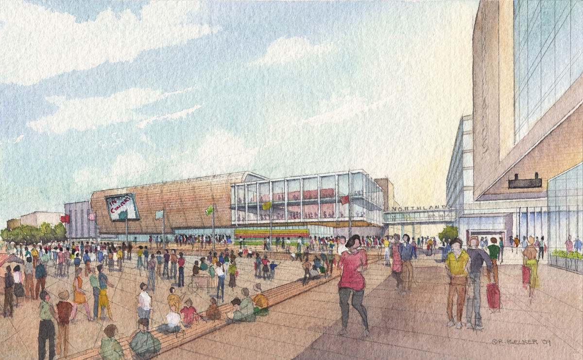 Stantec Northlands Plaza watercolor rendering