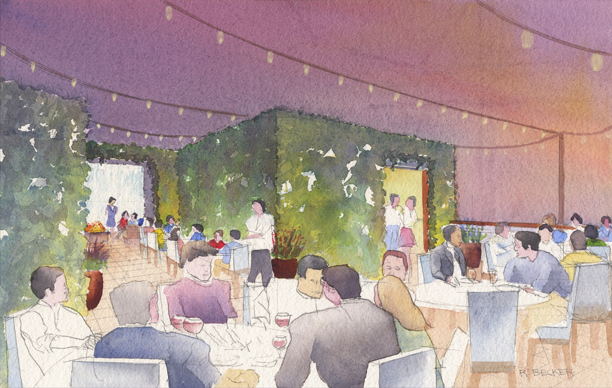 BH 1500 roof dining watercolor sketch
