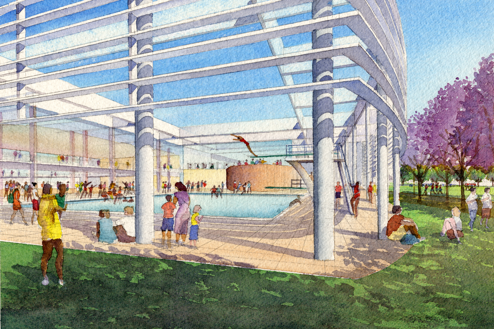 Cannon KROC pool watercolor rendering
