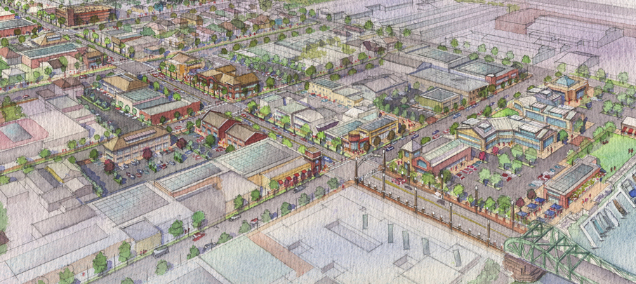 CCC alameda master plan watercolor aerial rendering