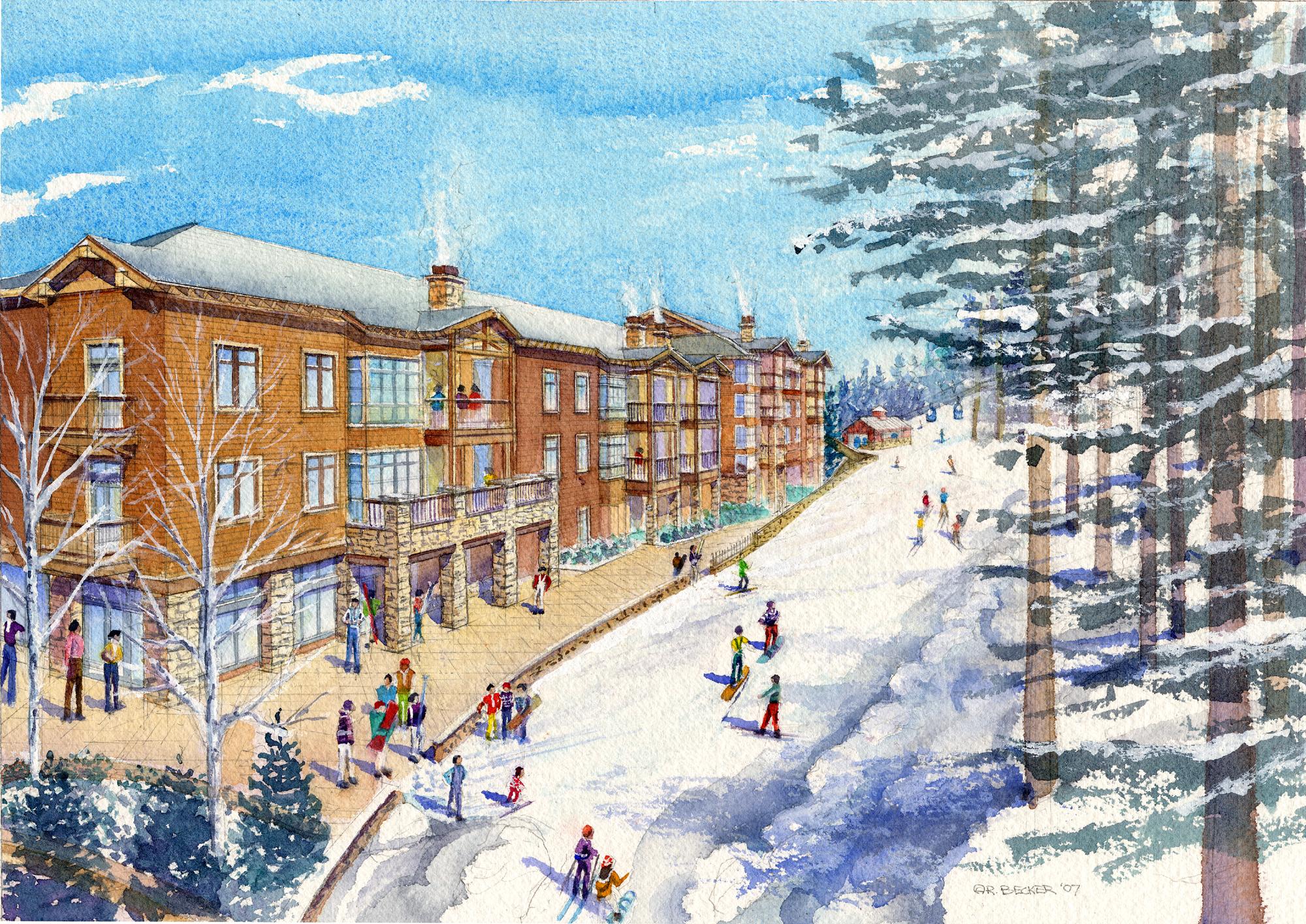 EW village north Ski Way winter watercolor rendering