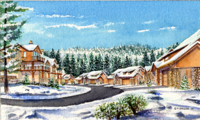 EW village walk Lower winter watercolor rendering