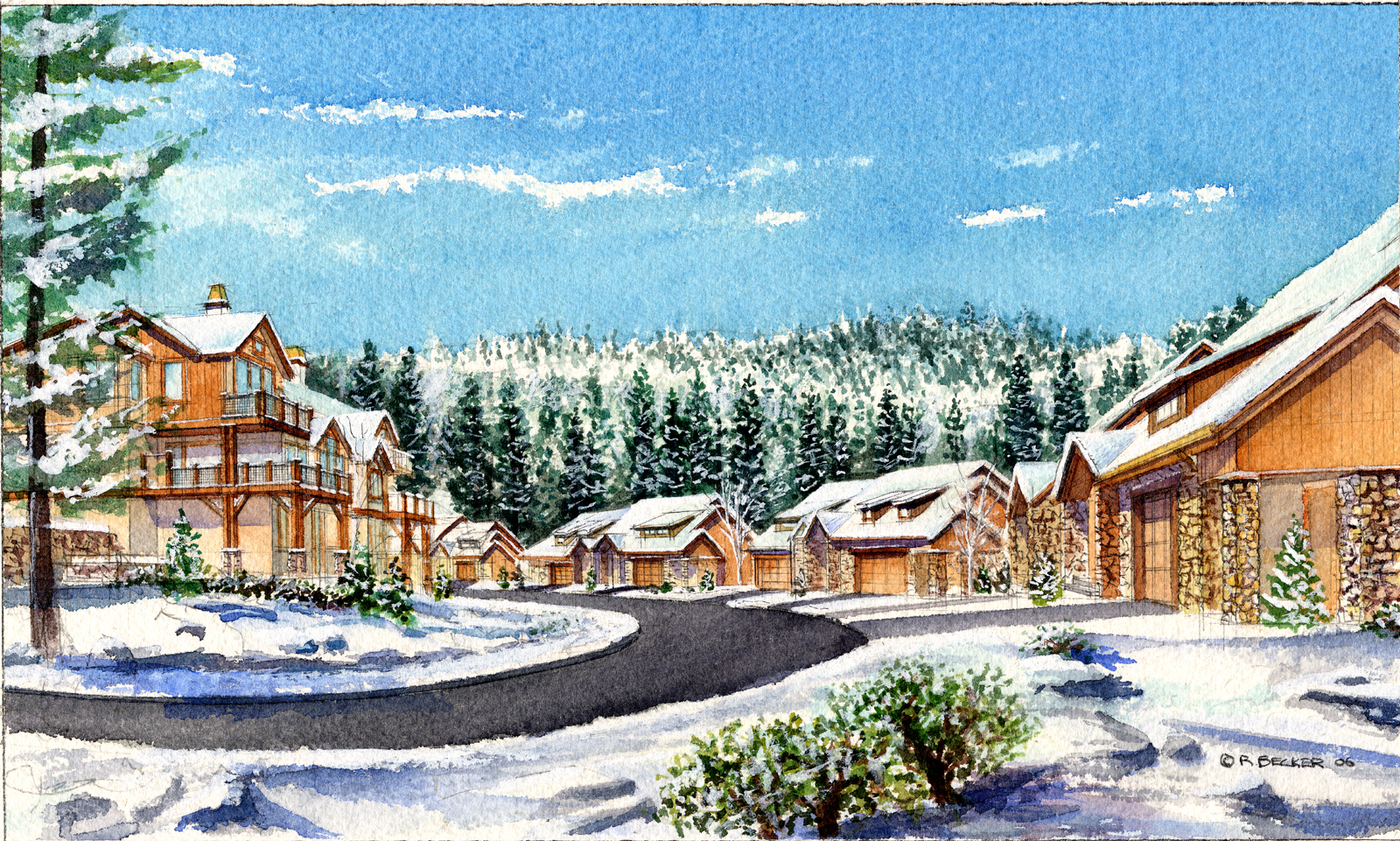 EW village walk Lower winter watercolor rendering