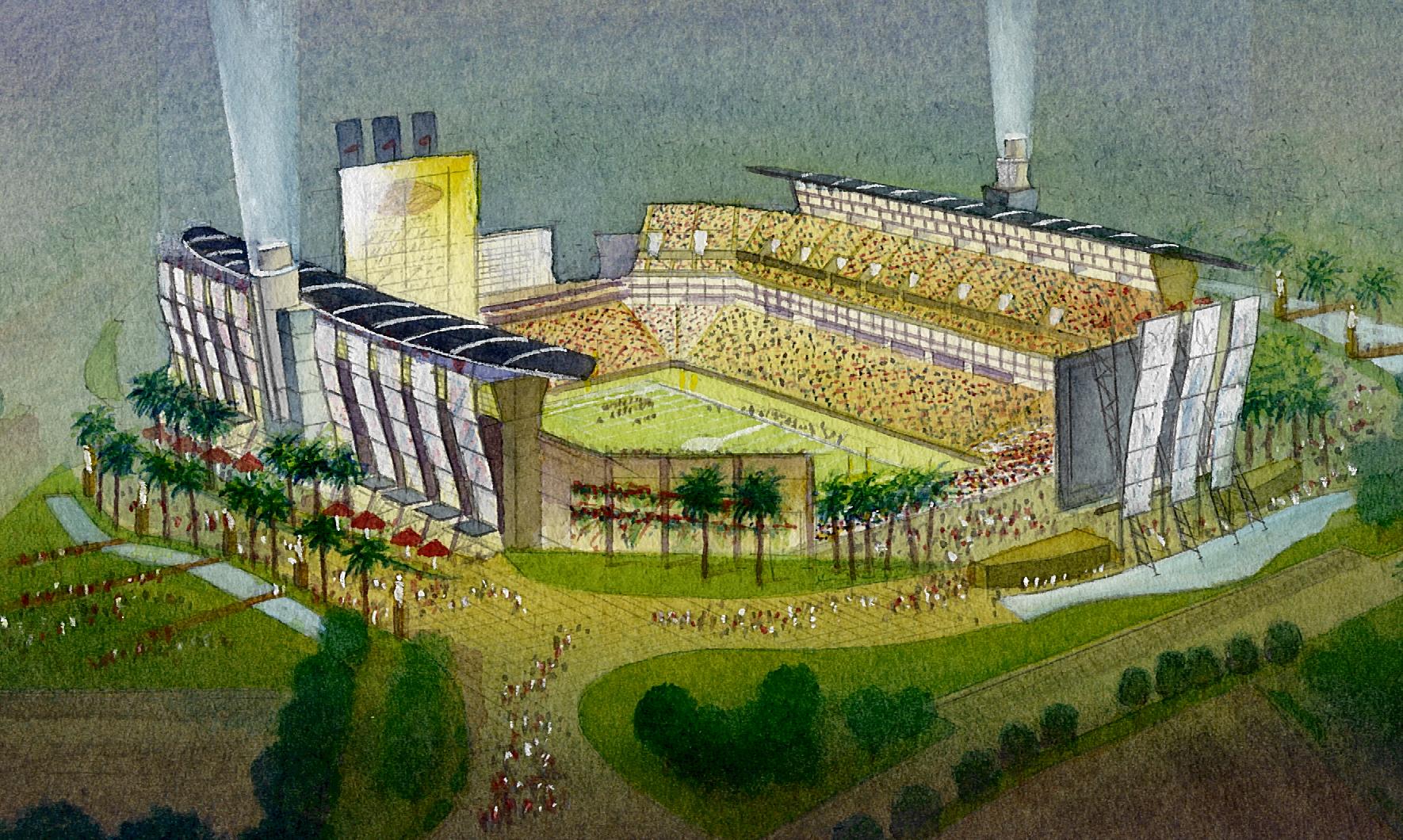 Hollywood Park NFL Aerial watercolor sketch