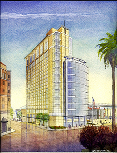 KMD San Jose conceptual watercolor sketch rendering