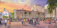 Miami Dade Plaza Watercolor