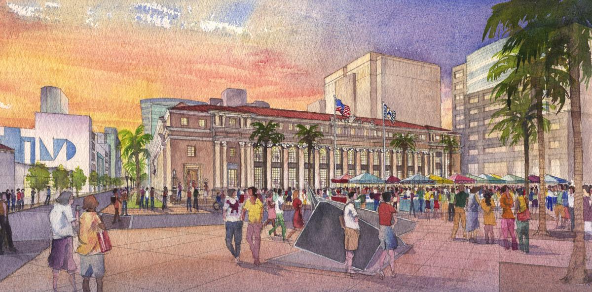 Miami Dade Plaza Watercolor
