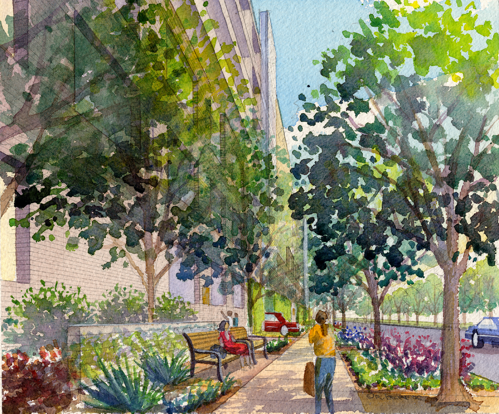PW kaiser westside Garage Pedestrian watercolor rendering