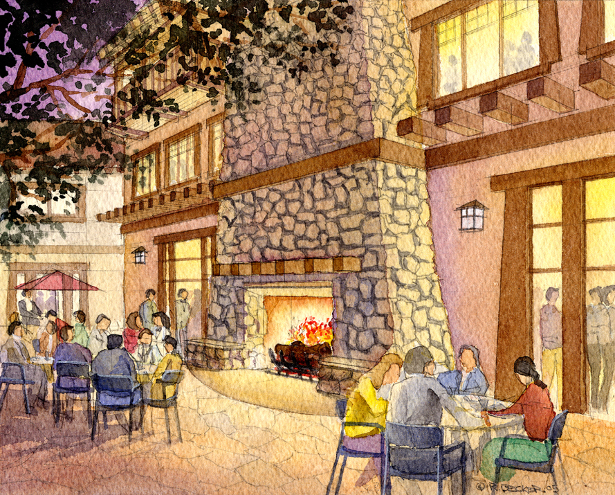 RRM fireplace watercolor sketch