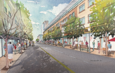 Silverstein Fort Lee street watercolor rendering