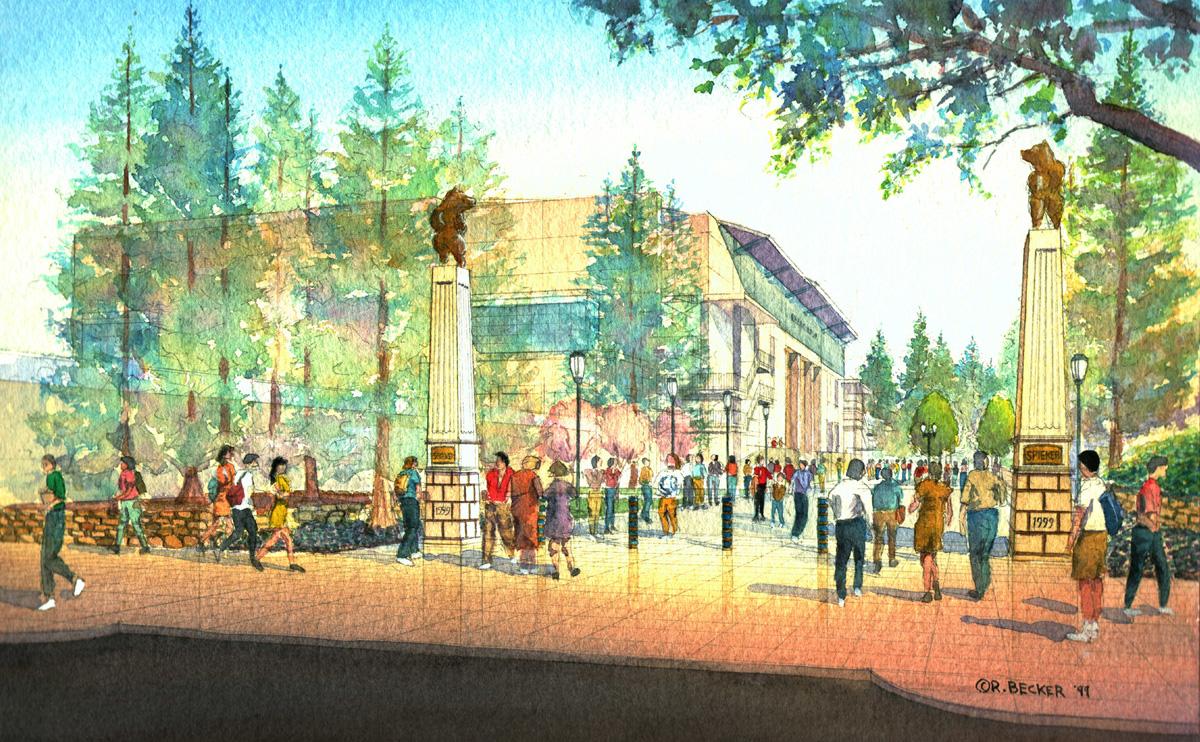 spieker plaza UC Berkeley watercolor